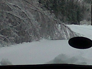 We totally had to swerve left and right to avoid the trees in the road - they were completely bent over because of the weight of the ice